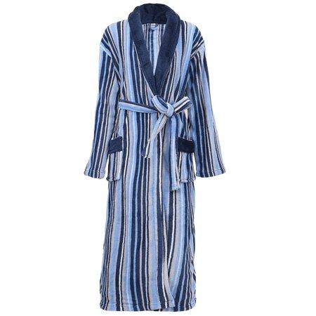 Kimono Robe Soft Plush Velvet Terry Shawl Collar Bathrobe Bathrobe,Blue Stripe