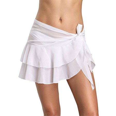 Women Swim Wear Bikini Cover Up Sheer Beach Mini Wrap Skirt Sarong Pareo Shorts