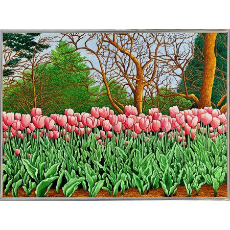 "Tulips At Longwood Gardens Vi, Kennett Square, Pa-THEWIN90575 Print 5.25""x7"" by Thelma Winter in a Silver Metal Frame"