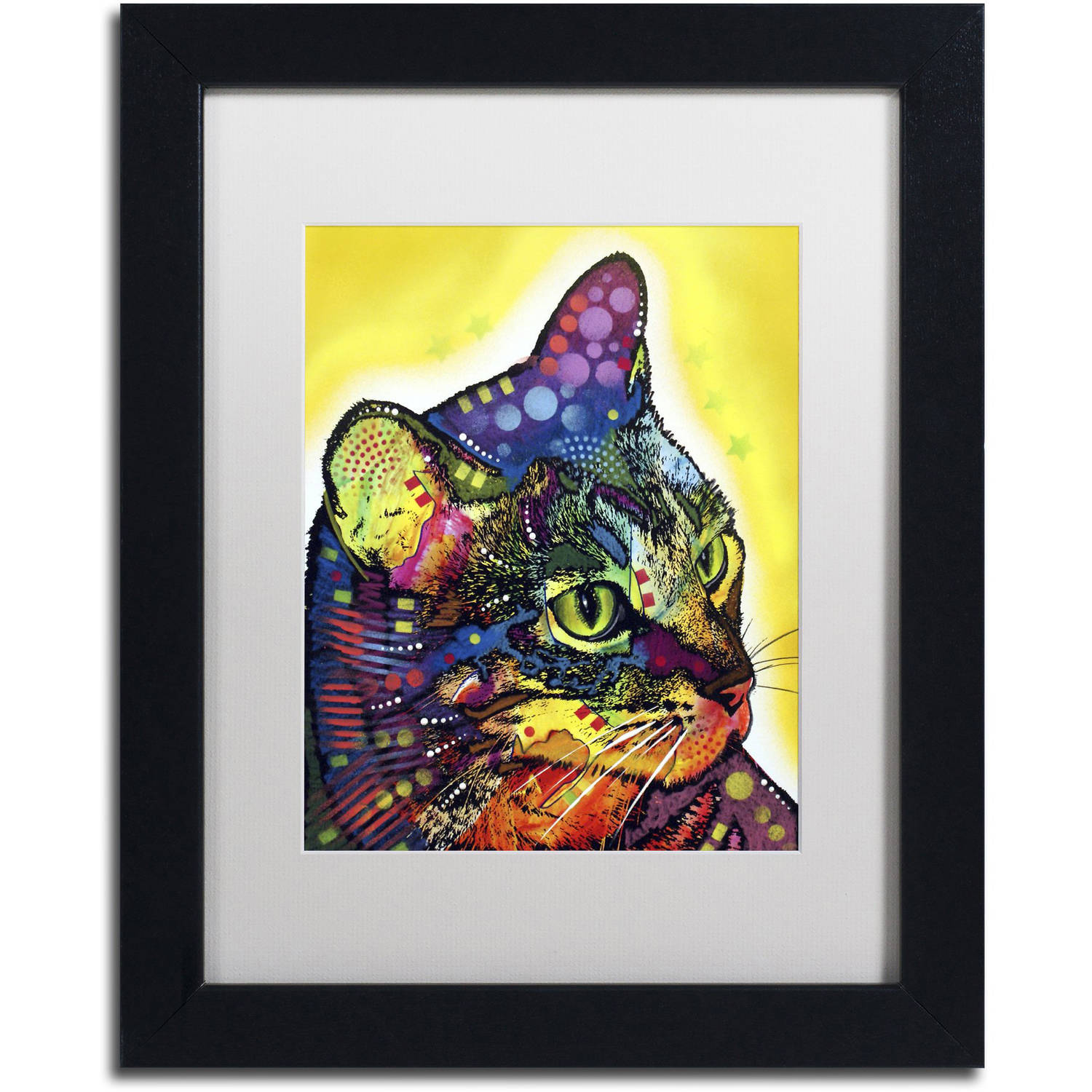 "Trademark Fine Art ""Confident Cat"" Canvas Art by Dean Russo, White Matte, Black Frame"