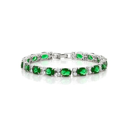 40.00 Ct Oval & Round Green Color Cubic Zirconias CZ Tennis Bracelet 7 Inch - Bracelet Light