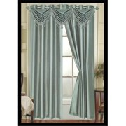 Editex 627VALG3705 Elaine Waterfall Faux Silk Valance Elaine with 2 Grommets in Lagoon