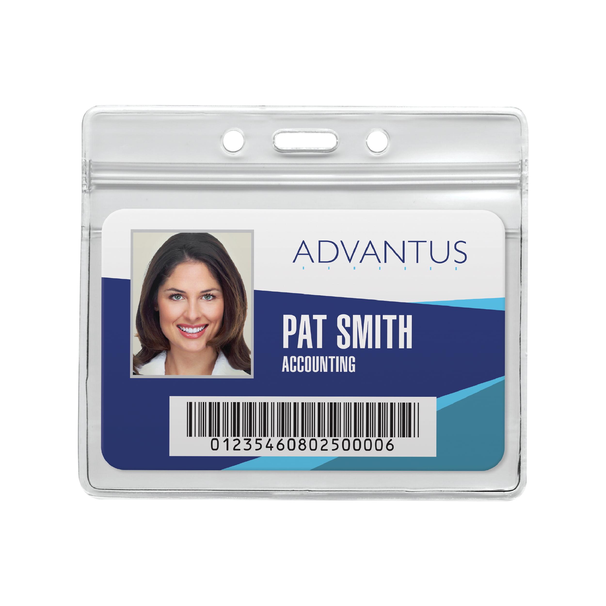 "Advantus® Resealable Badge Holder, Horizontal, 3¾"" x 2⅝"", 50/PK"