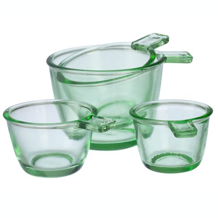 Greek Glass - Nostalgia Style Dry Measuring Cups by Home Marketplace, Classic Green Glass, 4 Piece Set