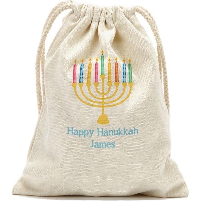 "Happy Hanukkah Custom Drawstring Sack, Small 13.3"" x 18.75"" or Large: 19"" x 27.75"""