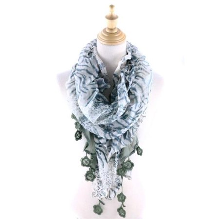 Ruffled Scarf - Memories QH-173-5-04 Leopard Ruffle Scarf with Flower Frince, White & Olive