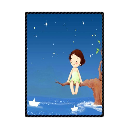 CADecor Lovely Girl Sit In Branches Think Deeply Beautiful Blue Sky Fleece Blanket Throws 58x80 inches