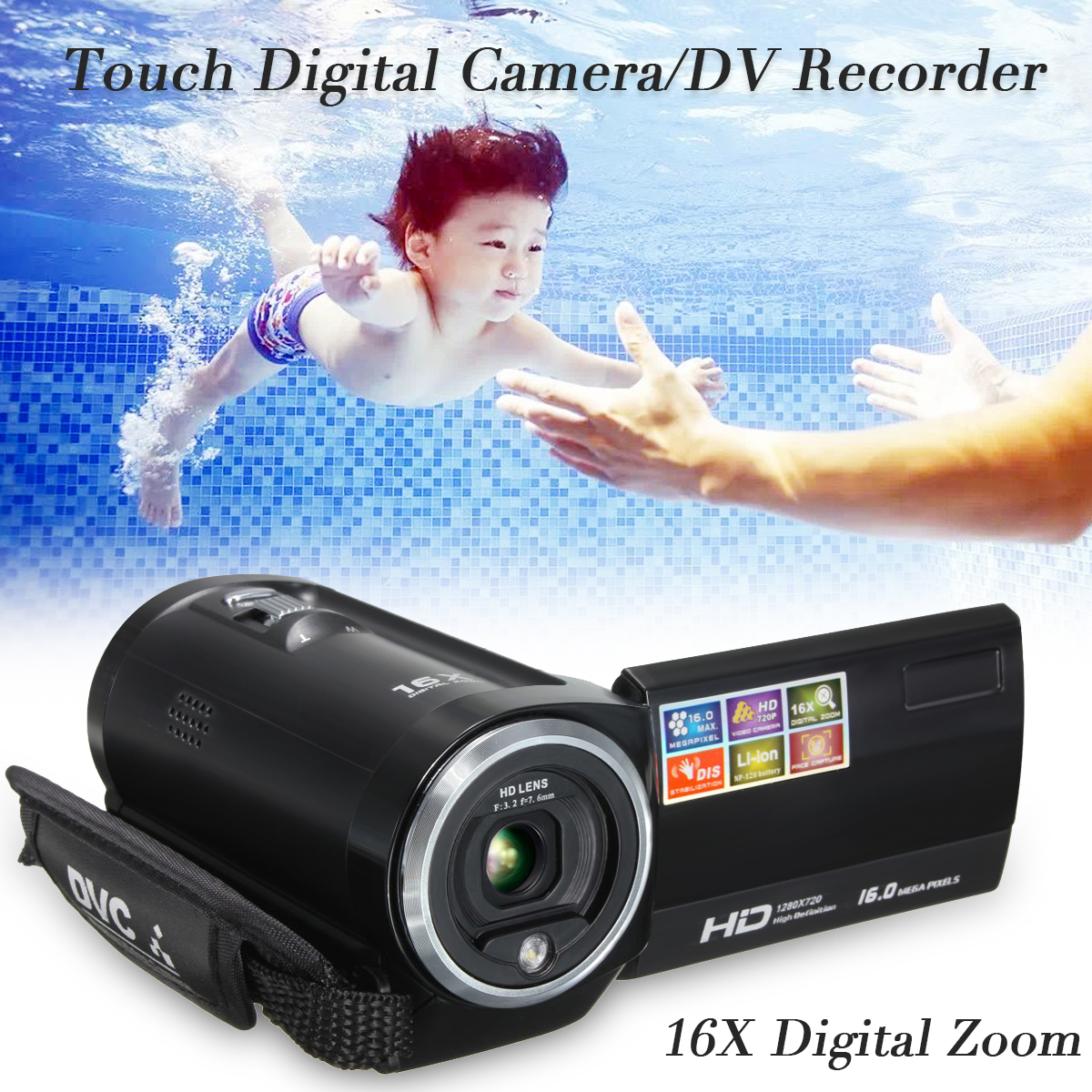 16X Zoom 16MP 2.7'' LCD 720P HD DV Digital Video Camera Camcorder DVR Outdoor
