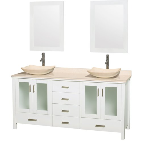 """Wyndham Collection Lucy 72"""" Double Bathroom Vanity, White, Ivory Marble Countertop, Arista Ivory Marble Sinks, and 24"""" Mirrors"""
