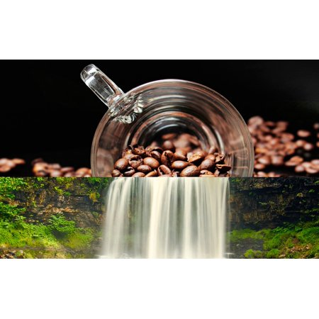 Peel-n-Stick Poster of River Summer Coffee Two In One Silence Waterfall Poster 24x16 Adhesive Sticker Poster (1 Waterfall)