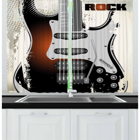 Rock Music Curtains 2 Panels Set, Detailed Guitar Pattern with Strings Retro Halftone Background Abstract Grunge, Window Drapes for Living Room Bedroom, 55W X 39L Inches, Multicolor, by (Rock Window)