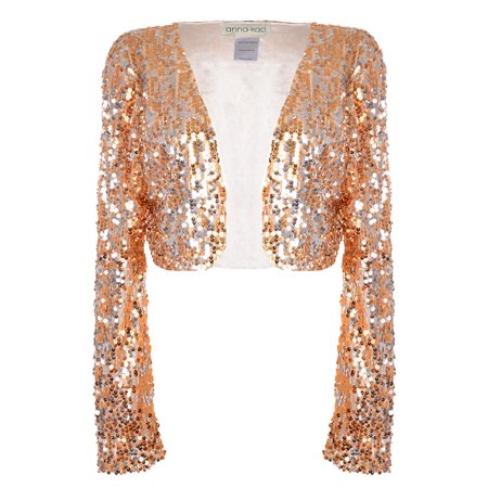 Anna-Kaci - Anna-Kaci Womens Shiny Sequin Long Sleeve Glitter Cropped  Blazer Bolero Shrug e20f6a0bdf7a