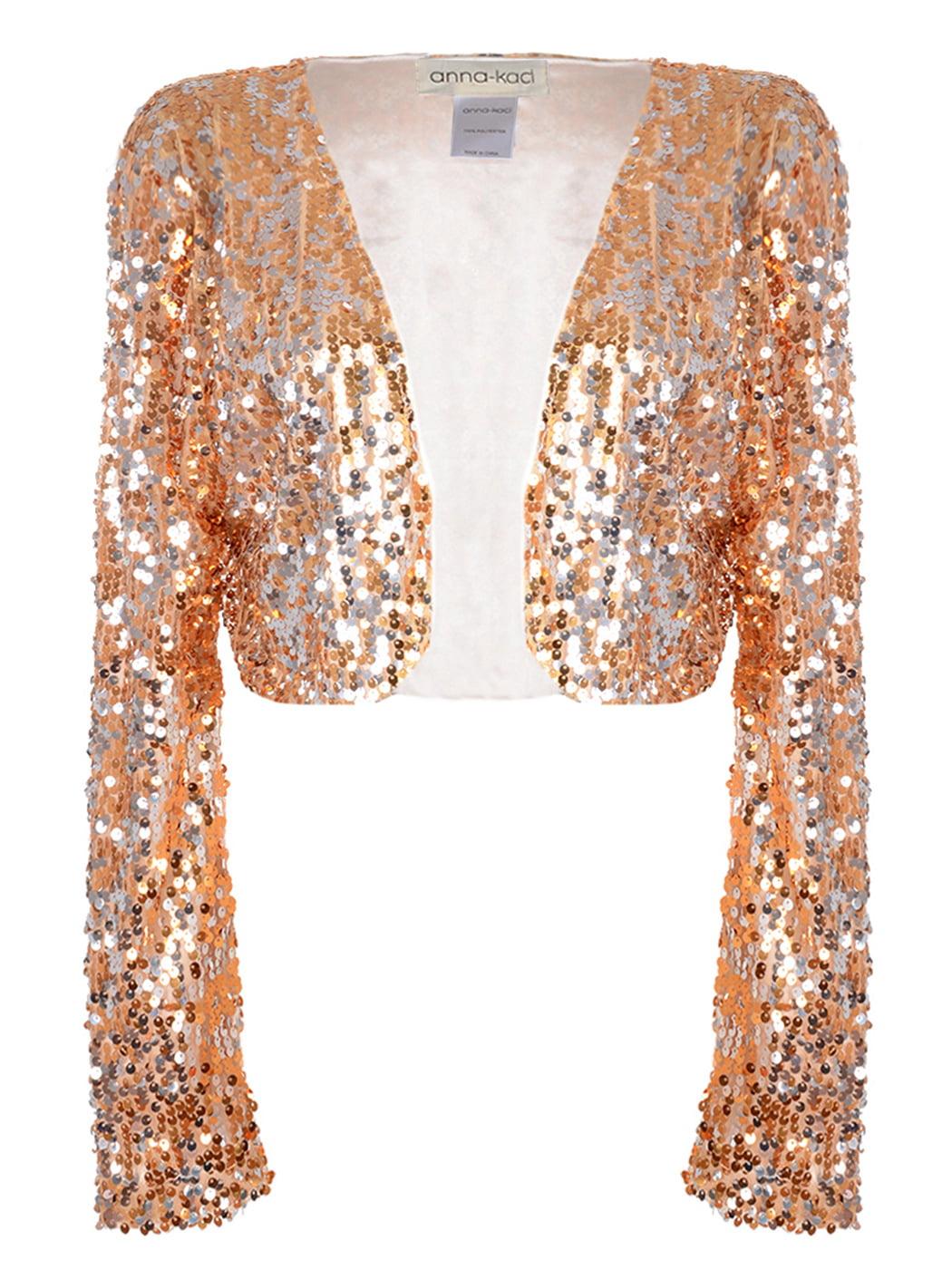 Anna-Kaci Womens Shiny Sequin Long Sleeve Glitter Cropped Blazer Bolero Shrug, Mermaid, Large