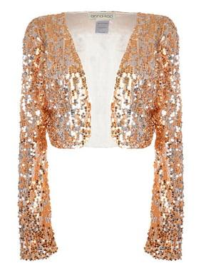 f0698244b9 Product Image Anna-Kaci Womens Shiny Sequin Long Sleeve Glitter Cropped  Blazer Bolero Shrug