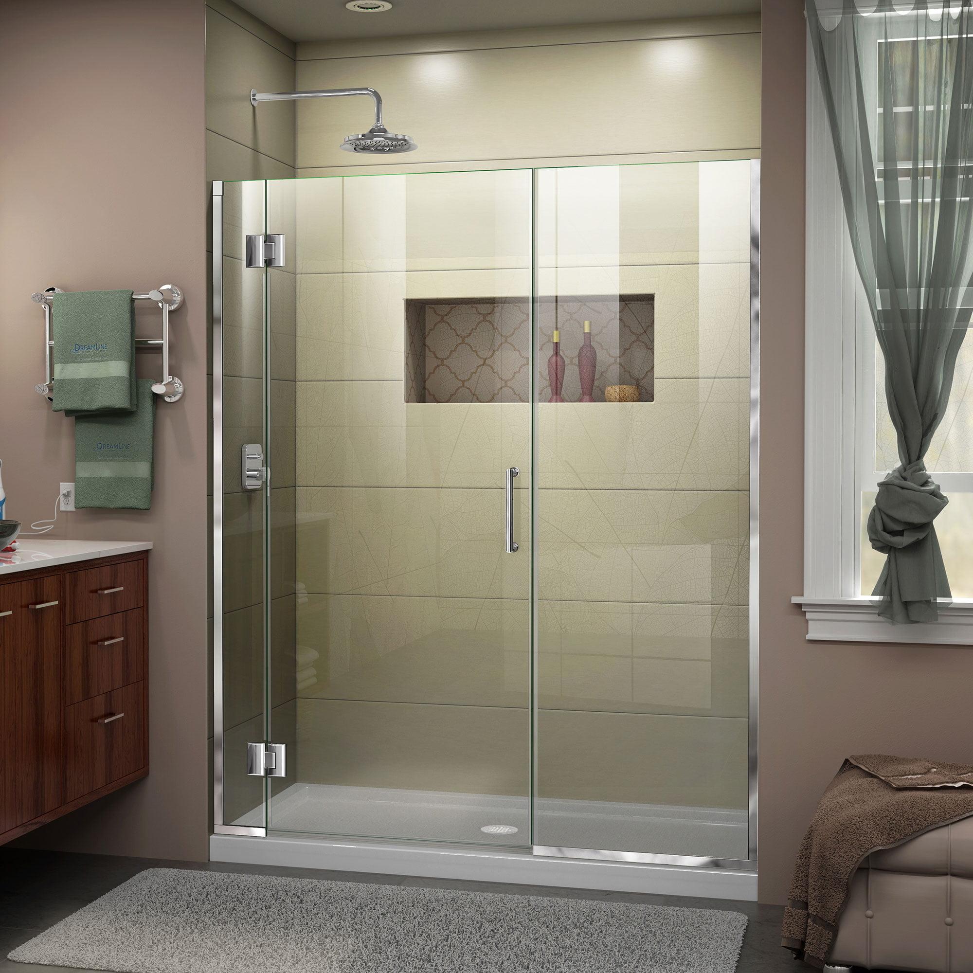 DreamLine Unidoor-X 64 1/2-65 in. W x 72 in. H Frameless Hinged Shower Door in Chrome