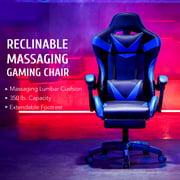 Preenex Reclining Leather Gamer's Chair Ergonomic Support High Back Massage Wheels, White