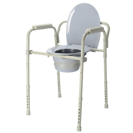 LIVINGbasics Commode Chair Aluminum alloy Toilet Seat Chair With Folding Commode Bucket, 7 Position - image 2 of 8