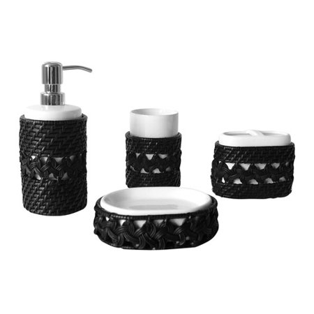 Elegant Home Fashions Neligh 4pc Bathroom Accessory Set Elegant Home Fashions Neligh 4pc Bathroom Accessory Set: Great solution for anyone looking to update their bathroom decorAll pieces are made from rattanSoap dish, tumbler, lotion dispenser and toothbrush holder all have a ceramic insertSoap dish measures 3.875  L x 5.25  W x 1.5  HTumbler measures 3.125  L x 3.125  W x 4.375  HLotion Dispenser measures 3  L x 3  W x 7.875  HToothbrush holder measures 3.875  L x 2.625  W x 3.625  HCoordinating wastebasket is available (sold separately)