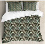 Mint and Brown King Size Duvet Cover Set, Baroque Flower Motifs in Damask Style Traditional Revival Art, Decorative 3 Piece Bedding Set with 2 Pillow Shams, Mint Green and Dark Brown, by Ambesonne