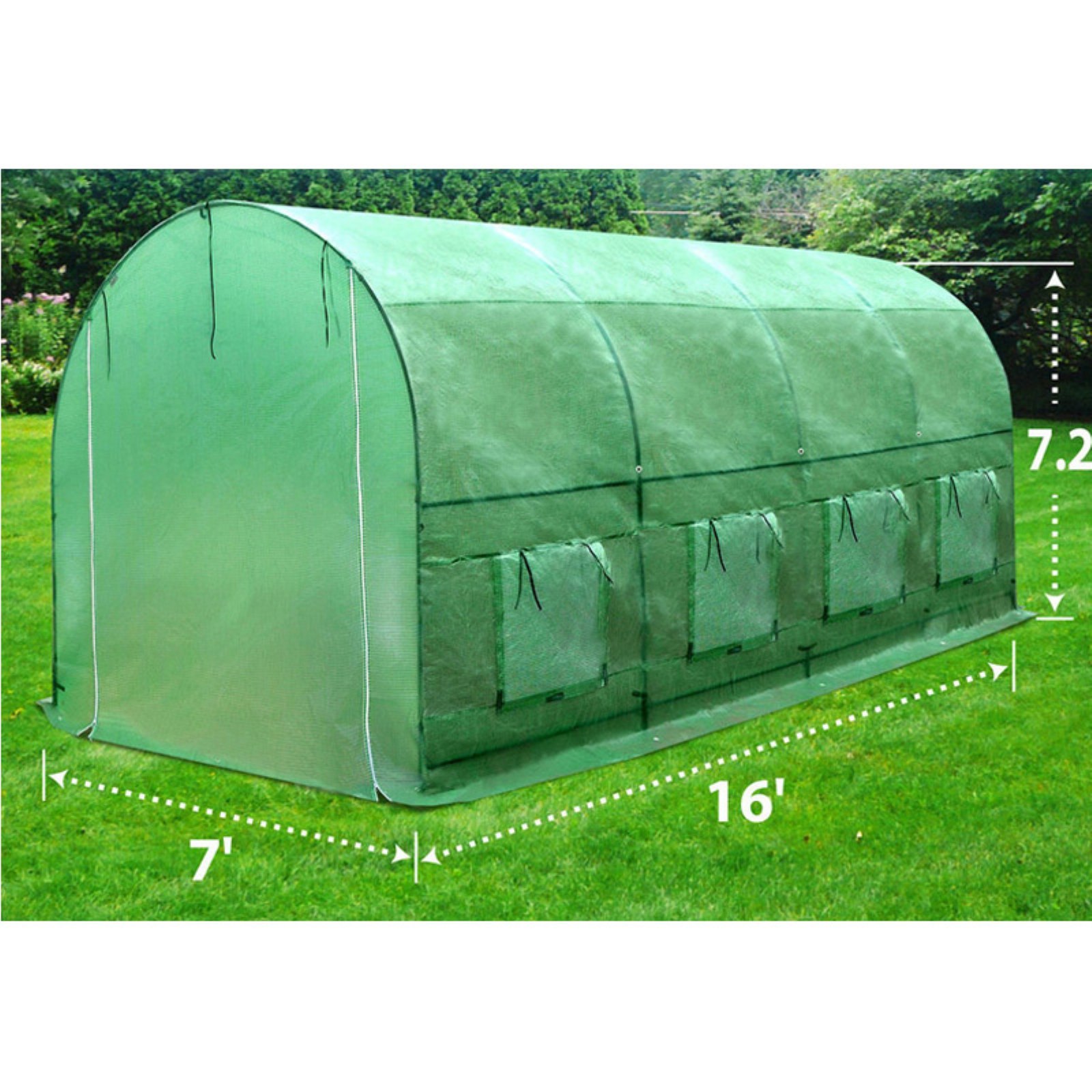 Sunrise Umbrella Outdoor Plant Gardening 16L x 7W x 7H ft. Large Walk-In Greenhouse by