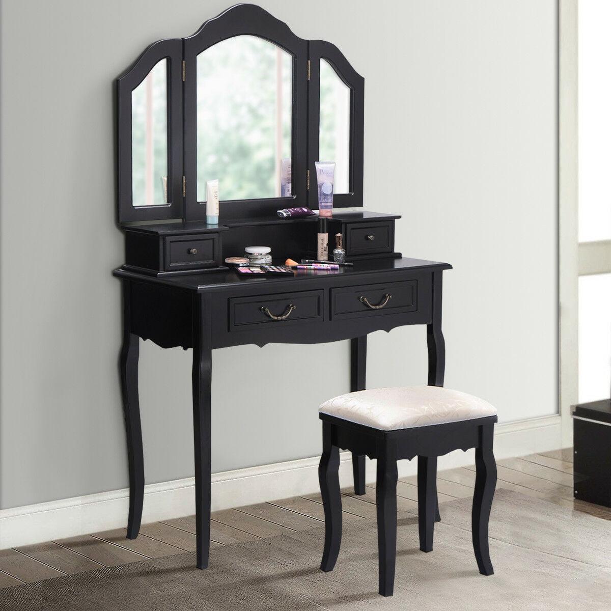 Gymax Vanity Set Makeup Table Dresser Tri Folding Mirror 4 Drawers with Stool Black