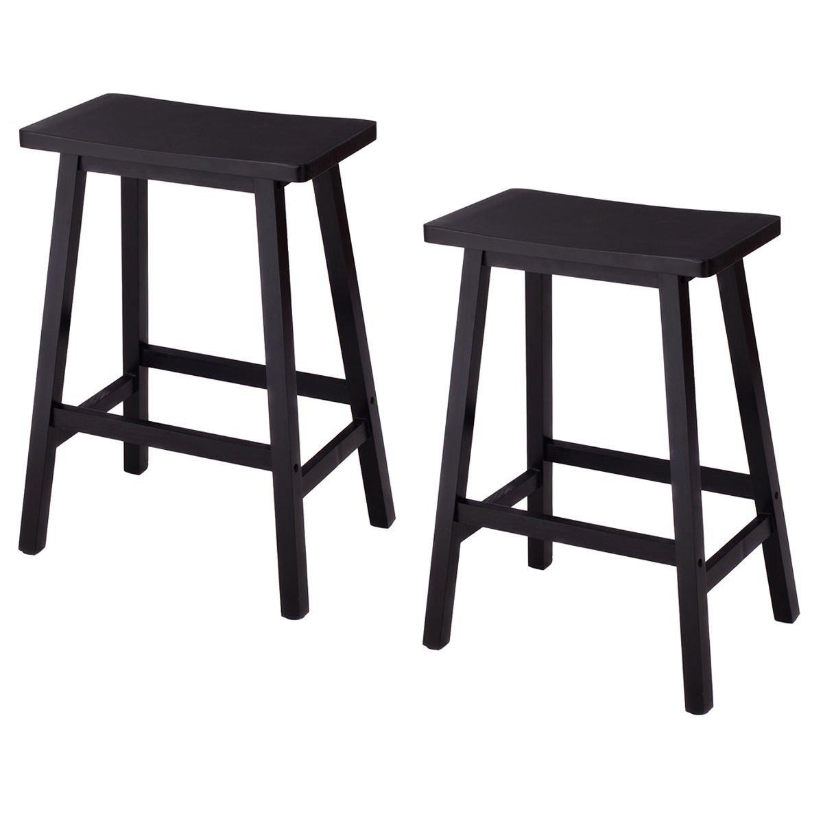 Ktaxon Set Of 2 Saddle Seat 24 Bar Stools Wood Dining Room Kitchen