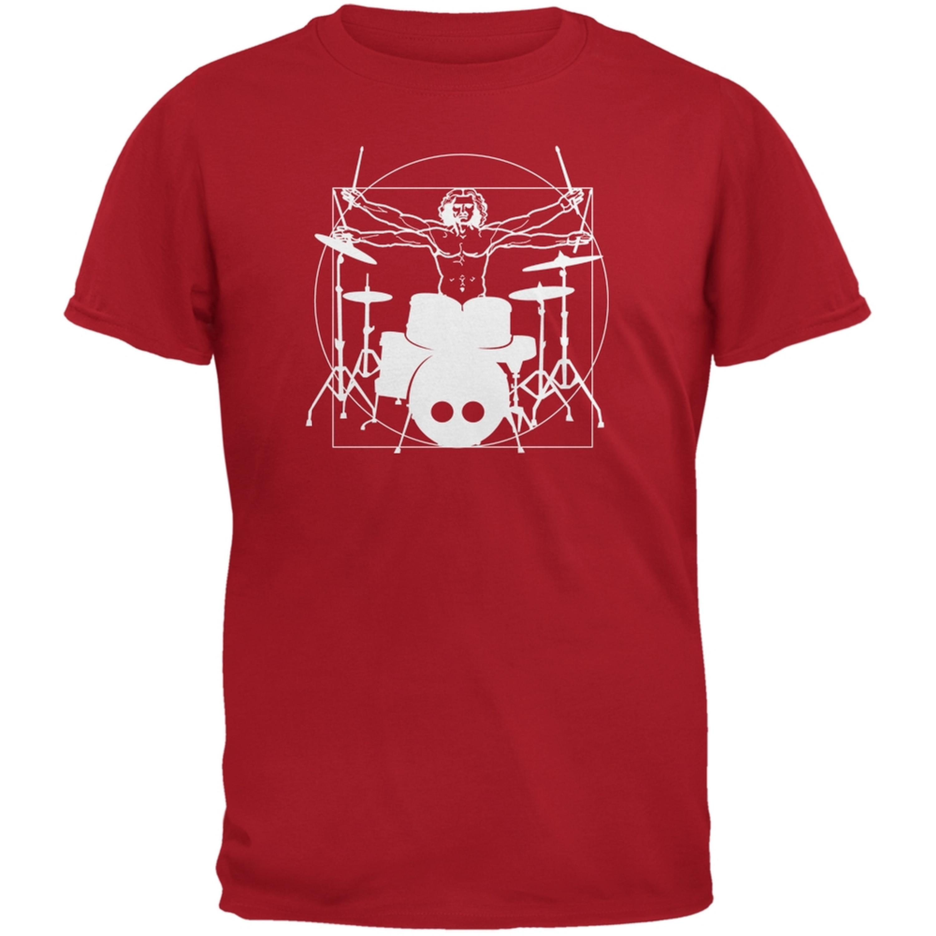 Vitruvian Man Drummer Red Adult T-Shirt