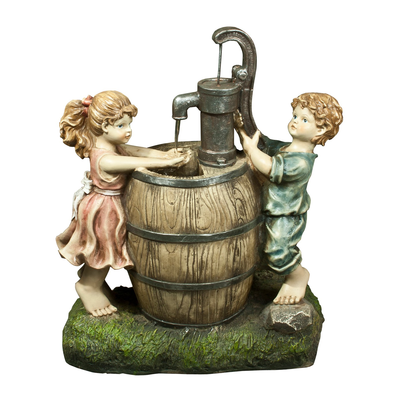 Alpine Boy and Girl Pump and Barrel Fountain by Alpine Corp