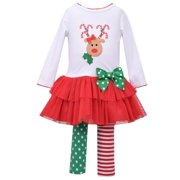 Bonnie Jean Infant & Toddler Girls 2 PC Holiday Outfit Reindeer Shirt & Leggings