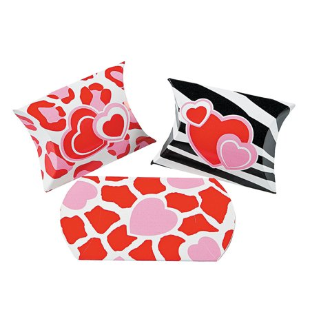 Fun Express - Mini Wild For You Pillow Boxes (2dz) for Valentine's Day - Party Supplies - Containers & Boxes - Paper Boxes - Valentine's Day - 24 Pieces (Valentine Supply)