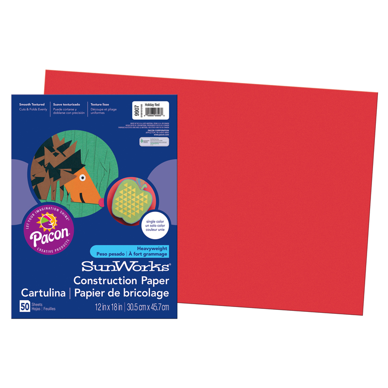 SunWorks Construction Paper, 12 x 18, Red, 50 Sheets/Pack