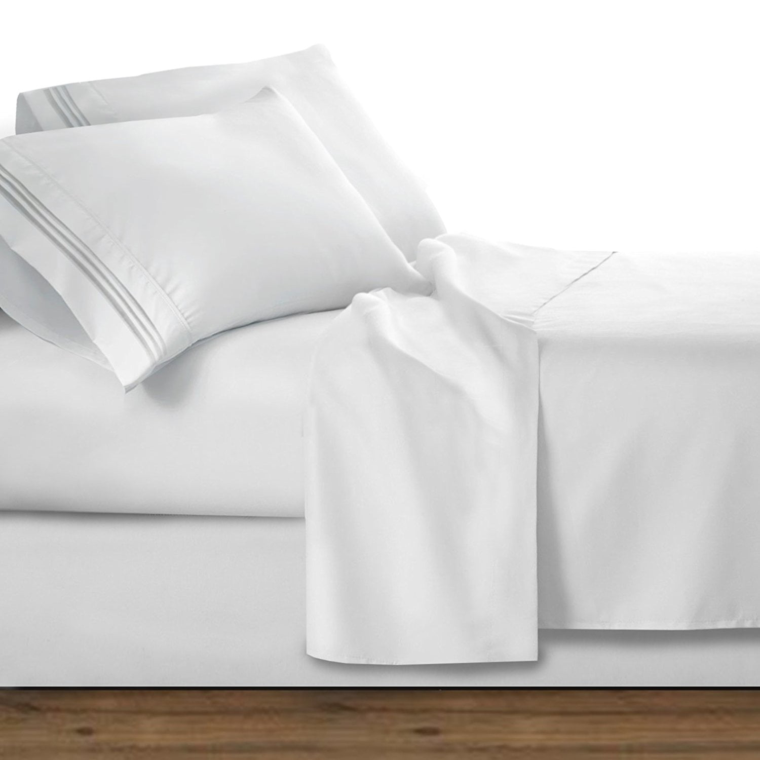 Chain Design 1500 Thread Count Egyptian Quality Wrinkle And Fade Resistant 4 Piece Bed Sheet Set Deep Pocket Hypoallergenic California King White