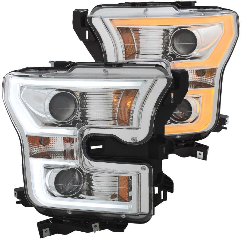 ANZO 2015-2016 Ford F-150 Projector Headlights w/ Plank Style Switchback Chrome w/ Amber