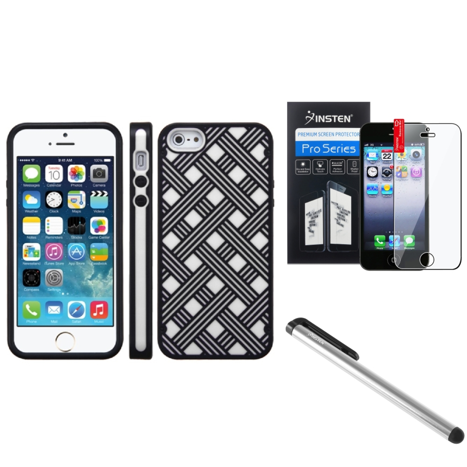 Insten White/Black TPU Soft Silicone Back Case Skin Shell For iPhone SE 5 5S LCD Film Protector Pen
