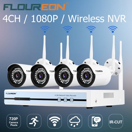 4CH Wireless CCTV 1080P DVR NVR Kit Outdoor Wifi 720P IP Camera Weatherproof Surveillance Security Camera System Indoor/Outdoor, Smartphone, PC Easy Remote Access