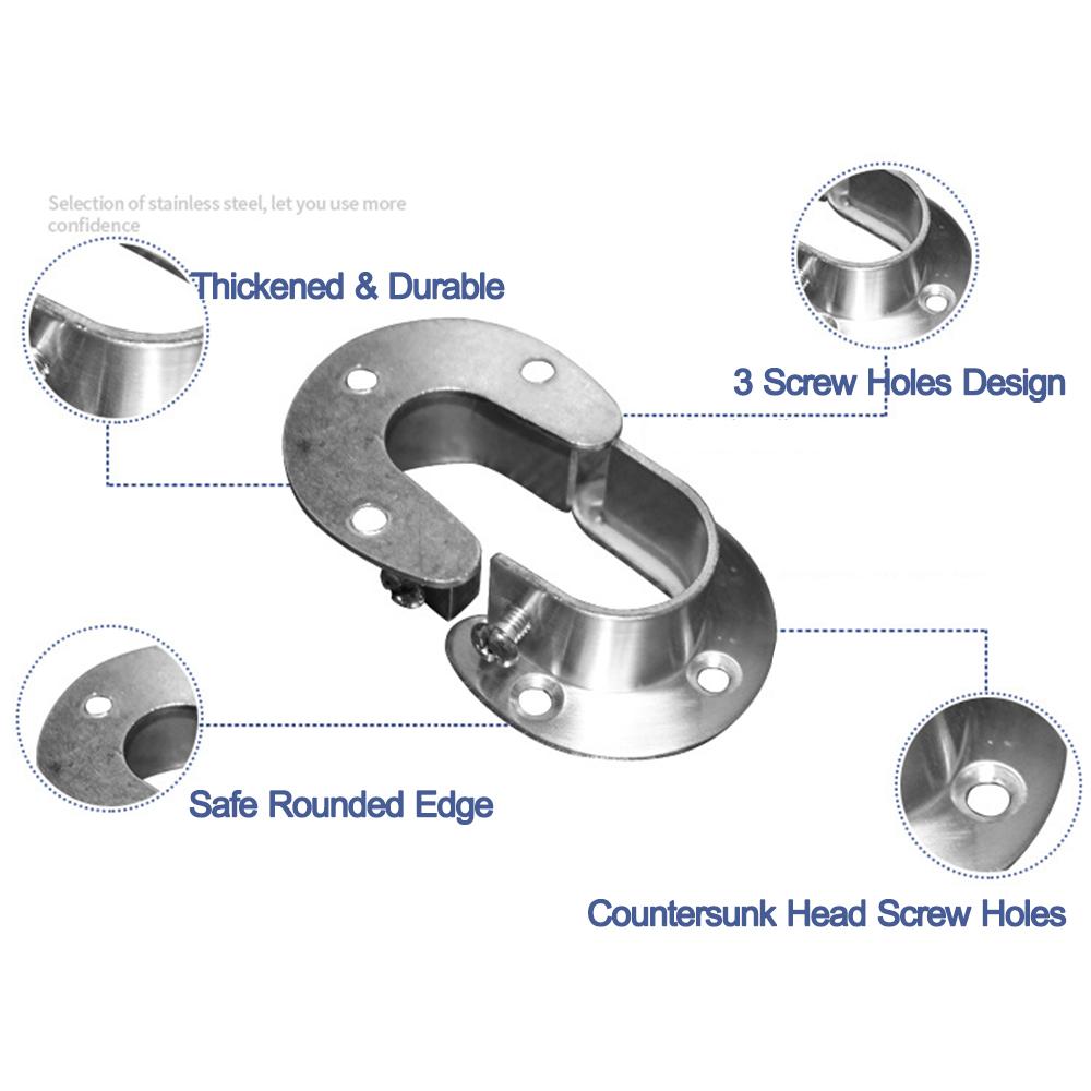 Rod Support Flange Holder Stainless Steel Closet Pole Sockets Rod Flange Set LI