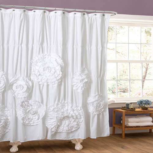 Essential Living Serena White Shower Curtain