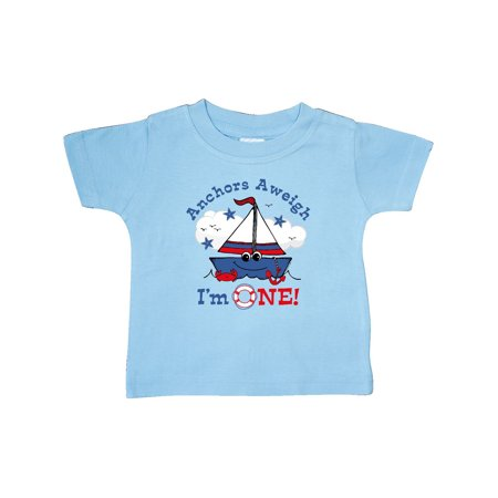 Little Sailboat 1st Birthday Baby T-Shirt - Little Man In The Boat