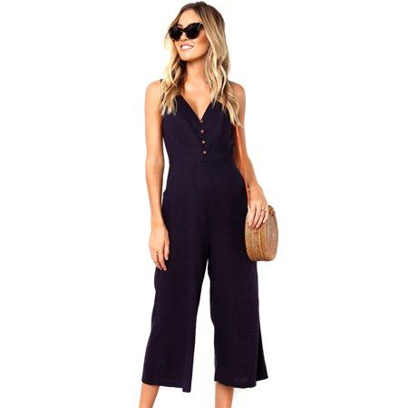Front Bell Bottom Jumpsuit (Womens Jumpsuits and Rompers Front Button Deep V-neck High Waist Wide Leg Pant Ninth Pants Jumpsuit w/ Pockets)