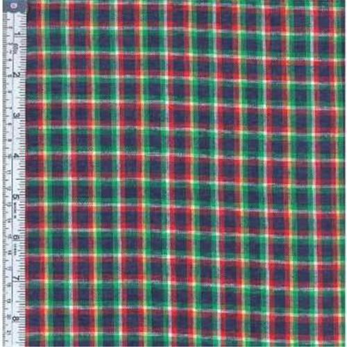 Textile Creations RW0130 Rustic Woven Fabric, Plaid Navy, Green And Yellow, 15 yd.