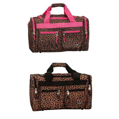 Rockland Deluxe Leopard 19-inch Carry-On Duffel Bag Pink Leopard