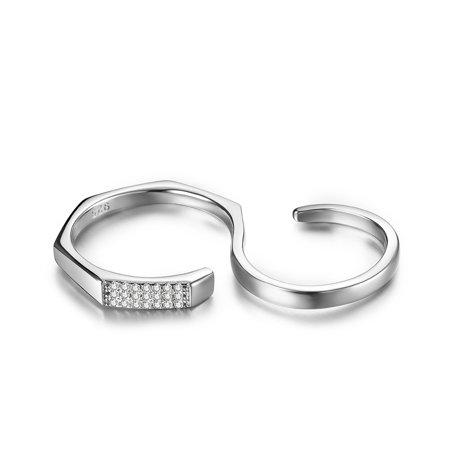 JURE 925 Bague en argent sterling zircon Bague de fiançailles multi-doigts Anneau Proposition Halo Bridal Remplacement - image 5 of 7