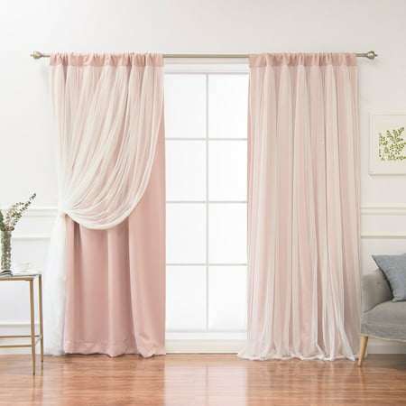 Full Overlay Panels - Best Home Fashion Solid Rod-Pocket Blackout with Tulle Overlay Curtain Panel Pair