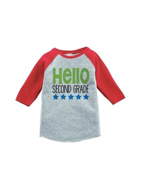 Custom Party Shop Kids Hello 2nd Grade School Red Baseball Tee - Large / 14-16