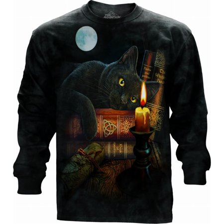 Black Cotton T-shirt (Black Cotton The Witching Hour Design Adult Long Sleeve)