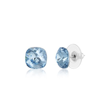 Lesa Michele Women's Faceted Crystal Cushion Shaped 10MM Stud Earrings in Stainless Steel Made With Swarovski Crystals (Color: Simulated Aquamarine)