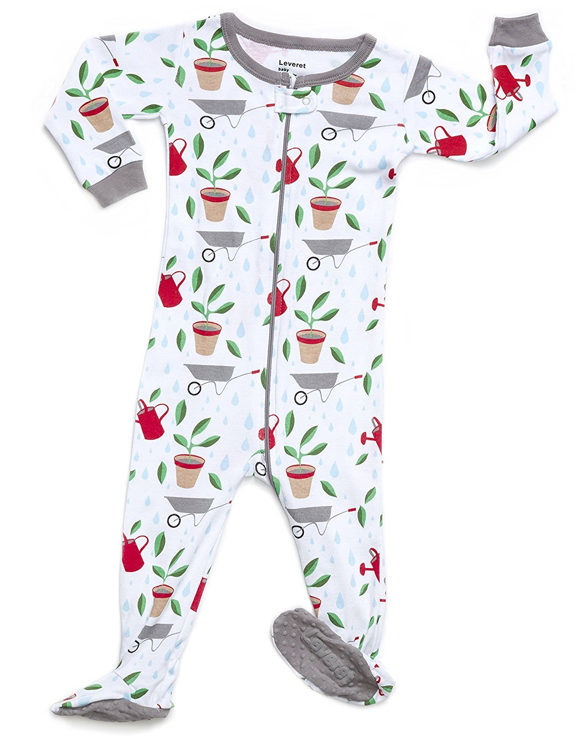 leveret organic cotton garden footed pajama sleeper 3-6 months