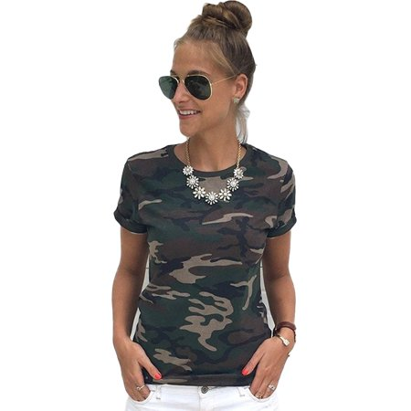 Womens Camo T-shirt Short Sleeve Casual Crew Neck Tee Shirt Blouse Camo Camouflage Short Sleeve T-shirt