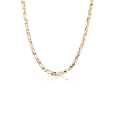 10k Fine Gold Stampato Xoxo Friendship and Relationship Hugs and Kisses Chain Necklace