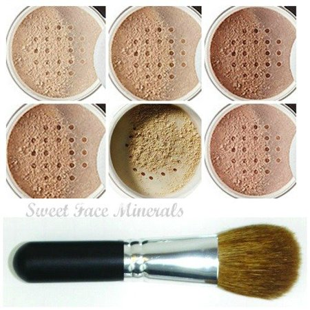 XXL KIT with BRUSH Full Size Mineral Makeup Set Bare Skin Powder Foundation Cover by Sweet Face Minerals (Fair Shade